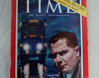 Collectible Time Magazine August 31, 1959 Teamster Boss Jimmy Hoffa Cover Very Good Condition Great Ads