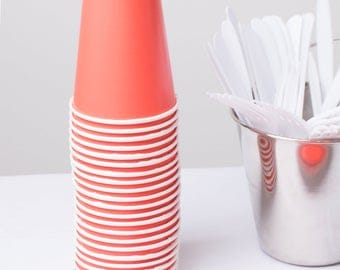 Paper Cups,  1st Birthday , Wedding, Princess ,Paper Party Cups Coral, Coral Party Decor.