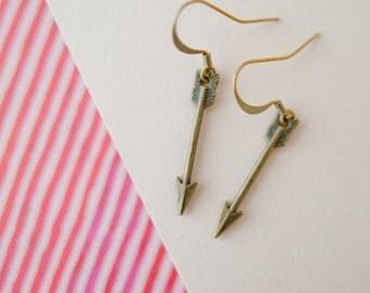 Arrow Earrings, Arrow Drop Earrings, Adventure Jewellery, Bronze Arrow Charms, Arrow Jewellery, Arrow Jewelry, Stocking Filler