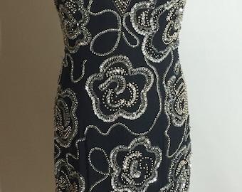 Gorgeous Black Silk Silver Beaded 90's Formal Dress