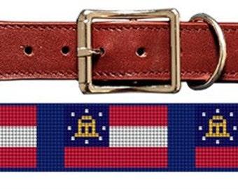 Georgia Flag Needlepoint Dog Collar