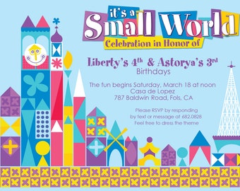 """it's a small world birthday party invitation """"pastel"""" - printable 4x6 or 5x7"""