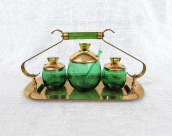 Emerald-Glo Green Glass Condiment Set - National Silver Co/Paden Glass - Brass plated Tray & Lids - Art Deco 1940s