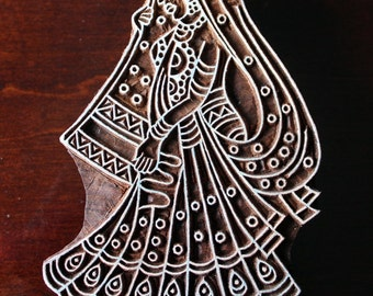 Hand Carved Indian Wood Textile Stamp Block- Indian Bride