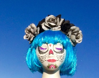 Day of the Dead Black Rose flower Crown gray roses Halloween Costume, headband,Frida Kahlo Dia De Los Muertos,sugar skull Mexican Headpiece