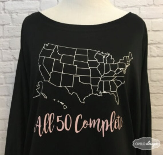 United States Map All 50 Complete Flowy off the Shoulder Long Sleeve T-shirt