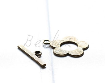 10 Sets / Flower Toggle / Antique Brass / Base Metal / Clasp (Y541//A103)