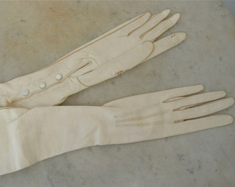 LADIES' FRENCH GLOVES 21 Inches Long Soft Ivory Leather Small Narrow Size 6 Mother of Pearl Snaps Vintage Paris Fashion 1920's
