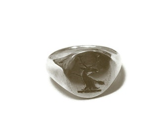 Stag signet ring, antiqued