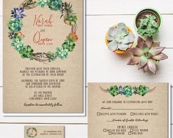 Succulent Wedding Invitations | Rustic Burlap Wedding Invitation | Cactus Invite Set | Southwestern Wedding | Budget Wedding Stationery