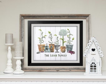 Hydrangea Family Art Print, Personalized Gift for Her, Personalized Gift for Mom, Grandma's Garden Gift, Rustic Family Art, White Wood Plank