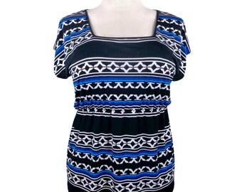 Plus Size Top w/ black & royal blue tribal print - Plus size empire waist top w/ flutter sleeves - geometric print - Sizes xl - 1x - 2x - 3x