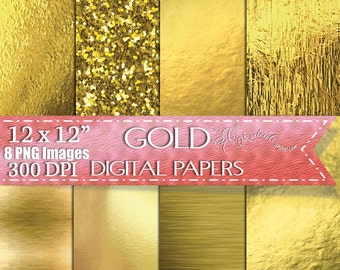 Gold Foil Digital Paper, Gold Foil Textures, Glitter digital paper, Backgrounds Scrapbook Paper, Scrapbook - Personal & Commercial use