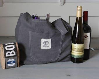 Reusable Grocery Bag, Reusable Shopping Bag, Heavy Linen Tote Bag, Eco-friendly, Linen Market Bag, Farmers Market Shopping, Dark Gray Linen