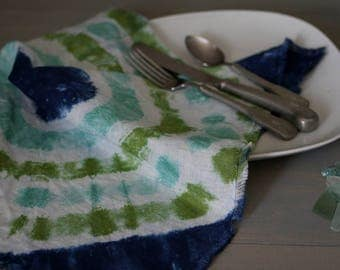 Tie Dye Linen Napkins, Beach Glass Linen Napkin, Picnic Napkin, Rustic Linen Napkin, Eco-Friendly Reusable Napkins, Cloth Napkin, Paper Free