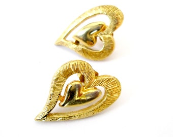 Pierced Gold Heart Earrings Vintage Sarah Coventry