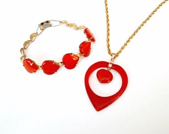 Red Agate Heart Necklace Bracelet Set Demi Parure Mid Century Jewelry Gift for Her