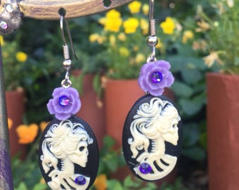 Victorian SKULL Lady Lolita CAMEO Earrings -  PIRATE Skelly Dangles