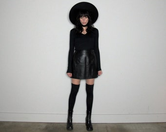 High Waist BLACK LEATHER Mini SKIRT 90s Minimal Rocker Vintage Womens Size 27/28
