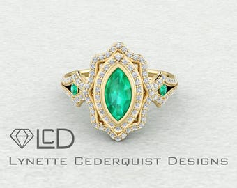 Gorgeous Marquis Shaped Chatham Emerald and Conflict Free Diamond Double Halo Conflict Free Statement Engagement Ring LCDH049