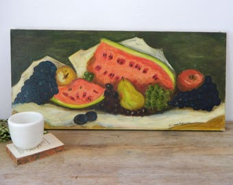 Vintage Still Life Fruit Oil Painting on Canvas. Signed Billie Webster Pitzer. Home Decor. Art. Farmhouse.
