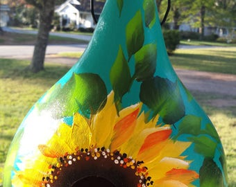 Reserved Sunflower gourd birdhouse, hand painted gourd house, gourd birdhouse
