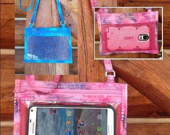 Hold The Phone! Crossbody Smartphone Case in Blue/Teal Batik