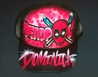 Airbrush Trucker Hat With Deadpool, Airbrushed Hat, Deadpool Hat, Deadpool, Trucker Hat, Deadpool Cap, Airbrush Cap, Airbrush Deadpool, Hat