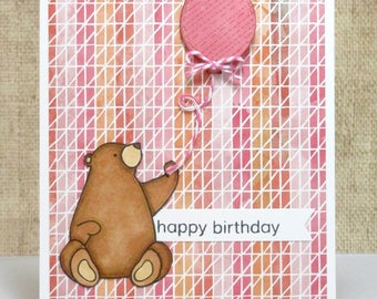 Kids Birthday Card- Bear Card- Bear Birthday Card- Birthday Balloon Card- Happy Birthday- Birthday Cards