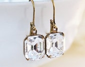 SALE Vintage Crystal Clear Swarovski Rhinestone Earrings,Everyday Glamour,Emerald Cut Dangle,Bridal Earrings,Vintage Glass,Antique Brass