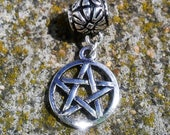 Ayla's Bead Creations Witch Wicca pentacle charm slide for cord or Pandora bracelet.