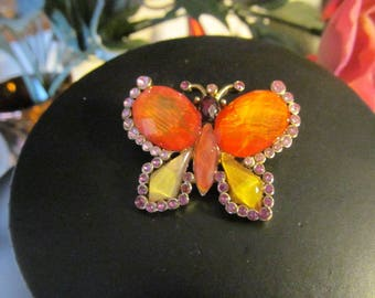 Butterfly Brooch Pin Orange Pink Yellow Rhinestones Gold Tone