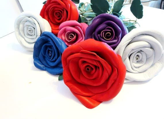 3rd Anniversary Gift -Leather Rose, Wedding gift- Long Stem leather Flower- Valentines Day