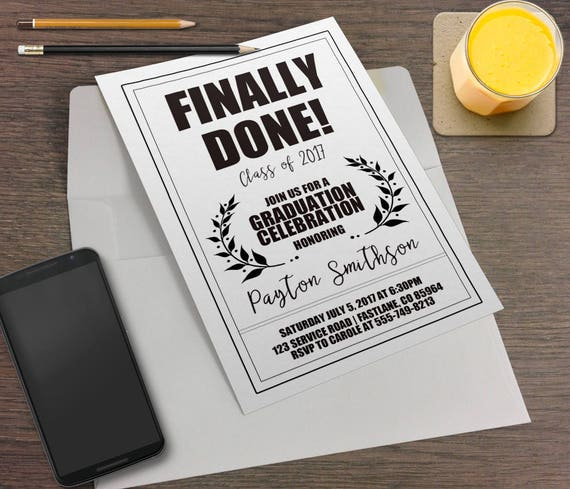 Minimalist printable graduation party invitation prescription il570xn filmwisefo