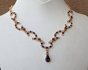 Swarovski Rhinestone Necklace, Bridal Necklace, Purple Necklace, Bridesmaid Gift, Necklace Earrings Set, Classic necklace,Purple Jewelry Set