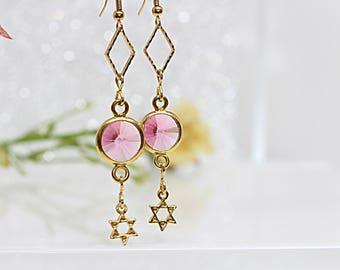Pink Dangle Earrings, Star Of David Charms Jewelry, Gold Pink Earrings, Jewish Jewelry, David Star Earrings, Swarovski Drop Earrings,For Her