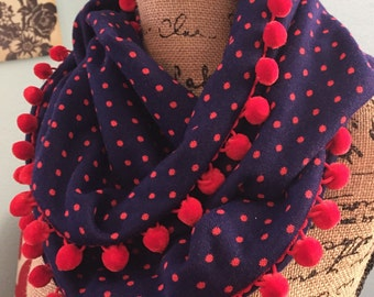 Ahoy Navy and Red Polka Dot Infinity Scarf with Pom Pom Trim