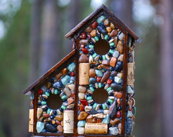 Two for one,outdoor,mosaic birdhouse,Christmas delivery,wine corks,wildlife,nature lover,bird watcher,outdoor bird house,mosaic,garden stone