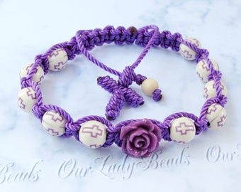 Rosary Bracelet Purple Macrame Cross with Flower - Religious Jewelry Gift, Confirmation, First Communion, Mother's Day, Friendship, 1-Decade