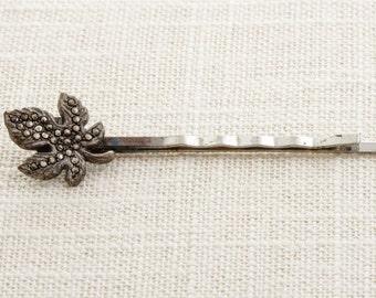 Art Deco Leaf Hair Clip Embellished Bobby Pin   Handmade in USA Hair Pins 16V