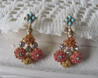 Vintage Lucite & Rhinestone Screw Back Seed Turquoise Earrings