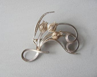 Vintage Tulip Brooch, Silver Filigree Tulips Pin, 800 Silver