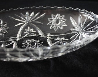 Vintage Anchor Hocking Oval Serving Bowl Early American Prescut Clear Glass Star of David Pattern