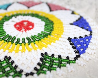 Multi Color Seed Bead Beaded Doily
