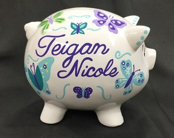 Piggy bank Personalized boy girl custom hand painted baby gift