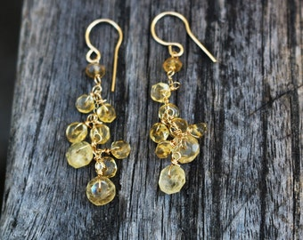 Golden citrine gold filled earrings dangle and drop earring