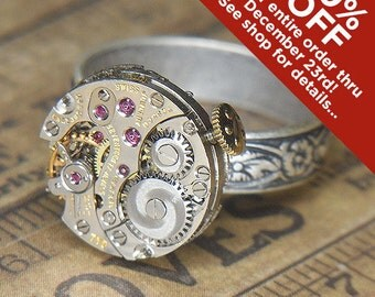 Women's STEAMPUNK Ring Jewelry - Torch SOLDERED - Vintage Silver TESSCO Circular Vero Watch Movement w Gold Crown & Adjustable Floral Band