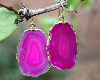 Pink Agate Slice Earrings - Gold Edged Agate Earrings - Natural Stone - Agate Jewelry - Large Agate Earrings - Gold Earrings - 14K Gold Fill