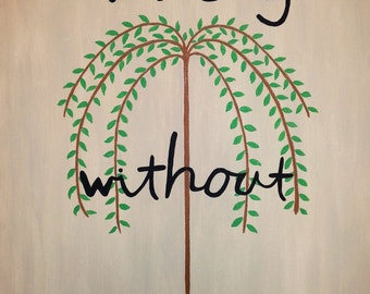 Pray Without Ceasing Acrylic Painting on Canvas, Willow Tree, 16 x 20 Folk Art Painting Primitive Naive Prayer Christian Christmas Painting