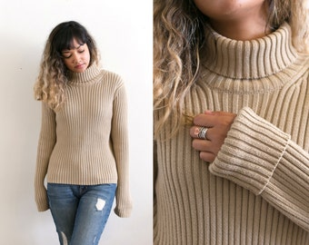 90s Vintage Turtleneck Sweater / Chunky Knit Sweater / Ribbed Sweater / Minimal Pullover Sweater / Fitted Thick Oversized Slouchy Jumper